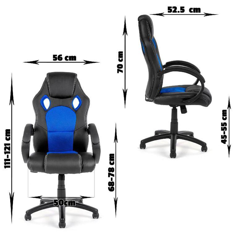 MY SIT Chaise de Bureau Fauteuil Siége Racing - Noir/Bleu V8 – Bild 3
