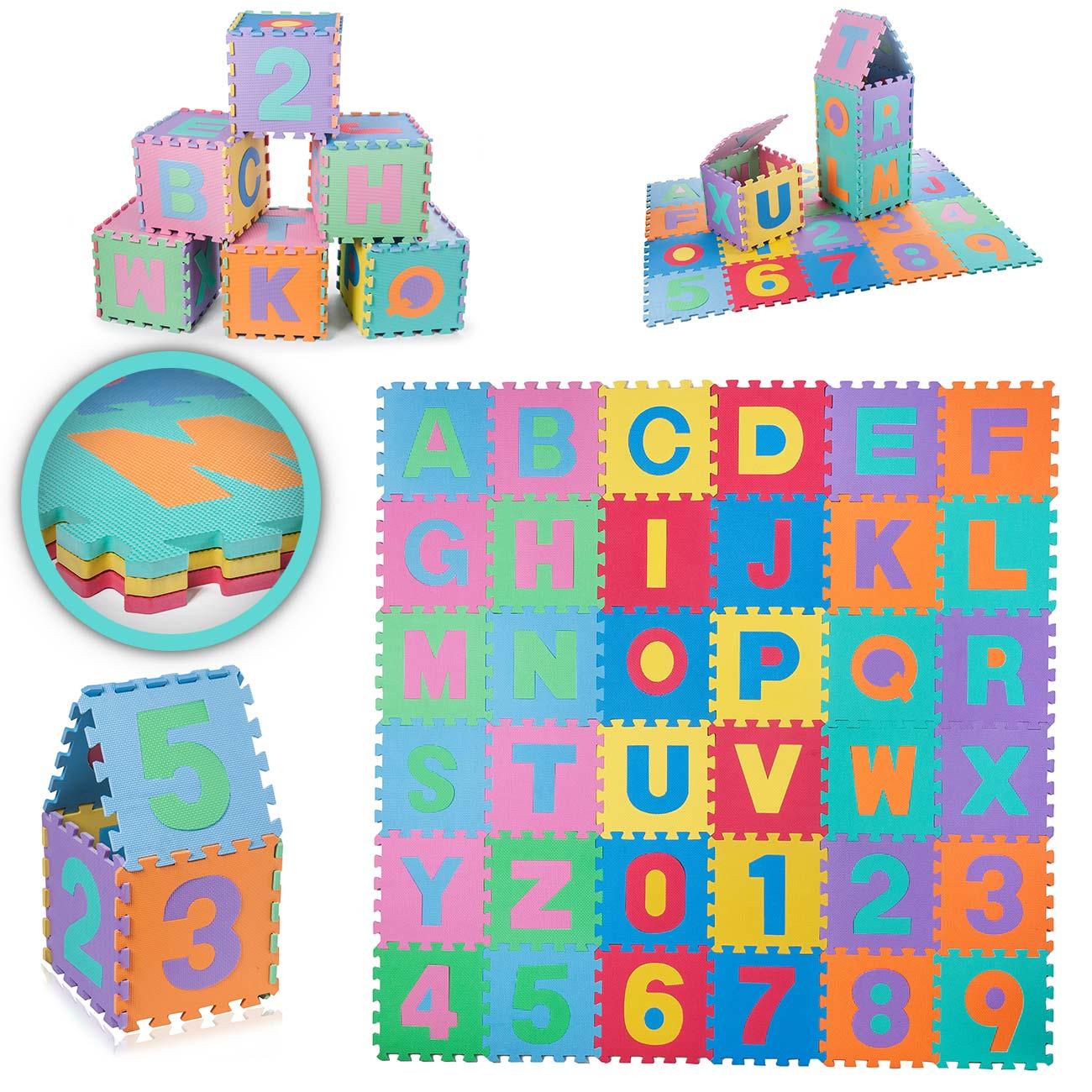 Spielmatte Puzzle 86 Teile Kinder Spielteppich Buchstaben Zahlen Puzzlematte