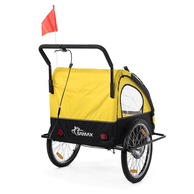 SAMAX Children Bike Trailer 2in1 Jogger Stroller with Suspension - in Yellow/Black - Black Frame – Bild 6