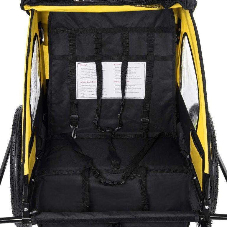 SAMAX Children Bike Trailer 2in1 Jogger Stroller with Suspension - in Yellow/Black - Black Frame – Bild 9