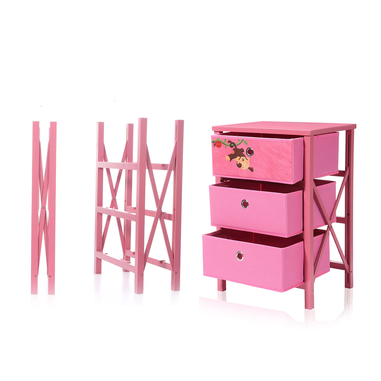 Makika Foldable Chest Of Drawers With 3 Drawers For Children In Pink U2013 Bild  13