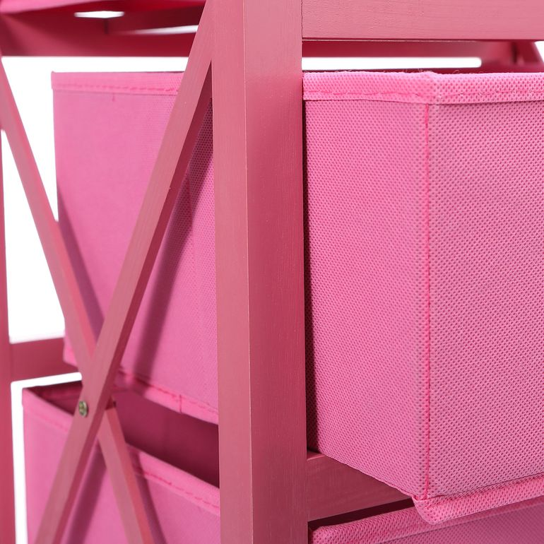 Makika Foldable Chest of drawers with 3 Drawers for Children in Pink – Bild 8