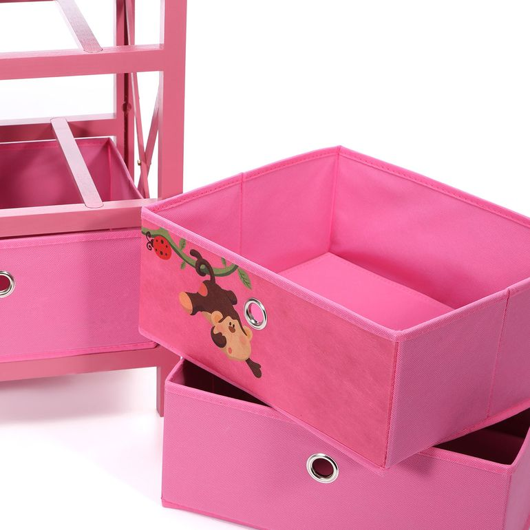 Makika Foldable Chest of drawers with 3 Drawers for Children in Pink – Bild 10