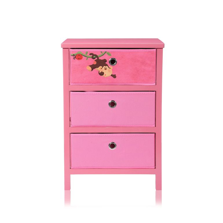 Makika Foldable Chest of drawers with 3 Drawers for Children in Pink – Bild 2