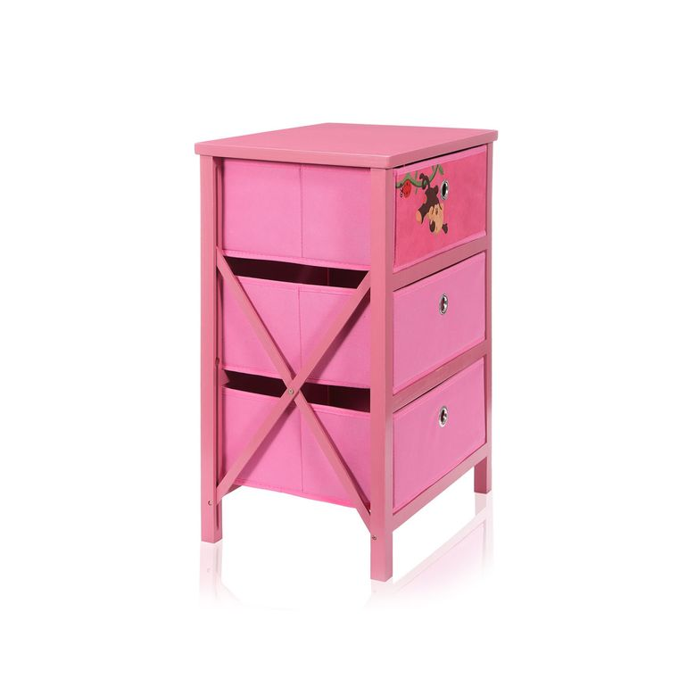 Makika Foldable Chest of drawers with 3 Drawers for Children in Pink – Bild 4