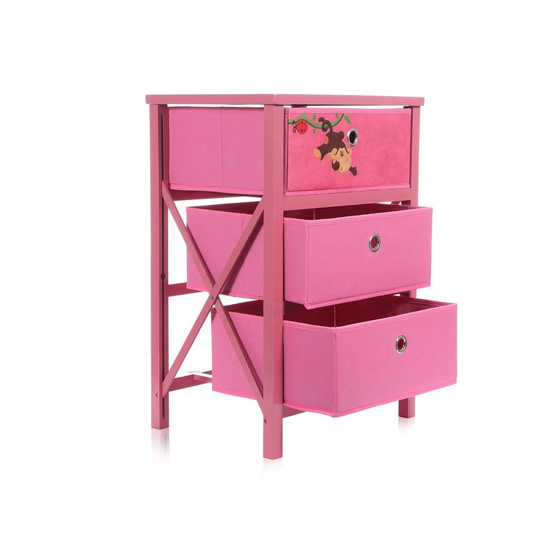 Makika Foldable Chest of drawers with 3 Drawers for Children in Pink – Bild 5