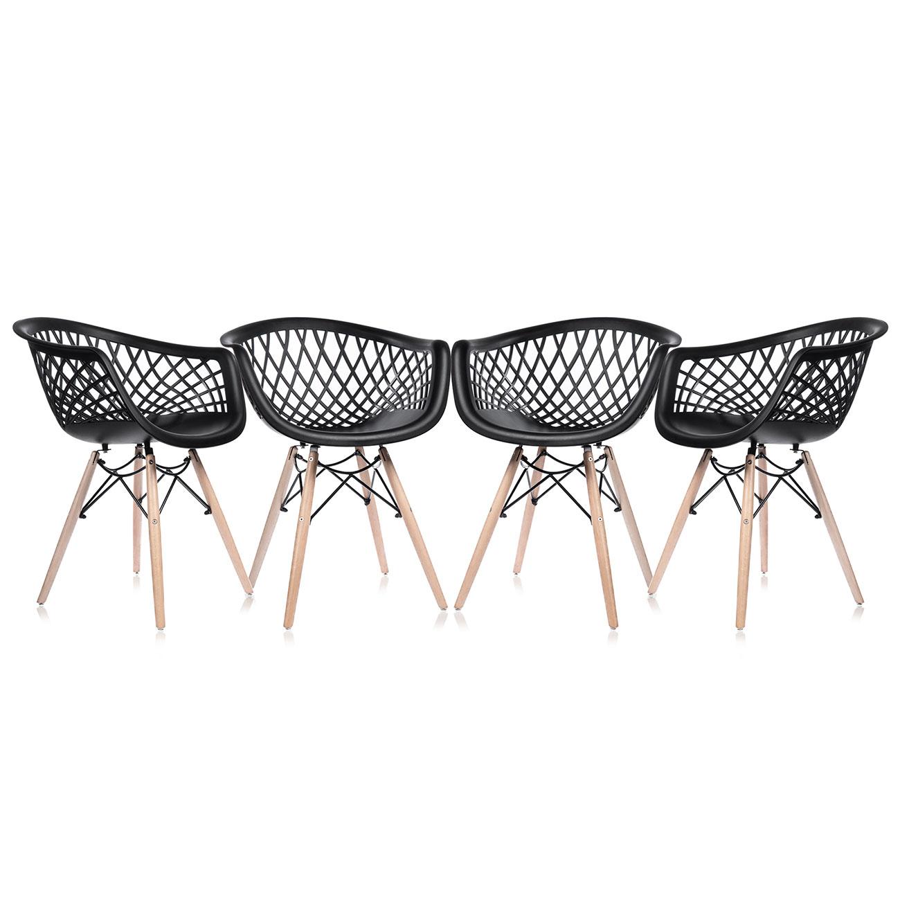 Makika Retro Stuhl Design Stuhl Sara 4er Set In Schwarz Ma