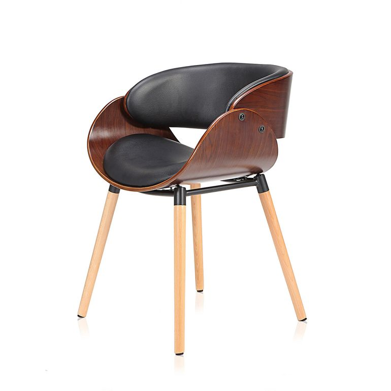 Makika Design Office Chair with backrest - Belle in Black/Brown – Bild 3