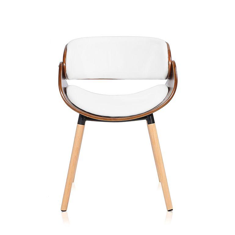 Makika Retro Design-Bürostuhl - Belle in Weiß/Braun – Bild 2