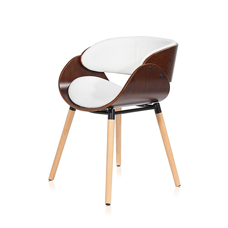 Makika Design Office Chair with backrest - Belle in White/Brown – Bild 3