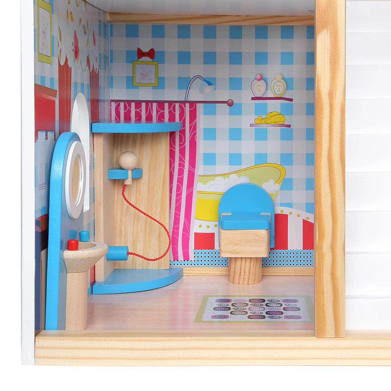 baby vivo puppenhaus rosalie aus holz mit zubeh r baby kind spielzeug puppenh user. Black Bedroom Furniture Sets. Home Design Ideas