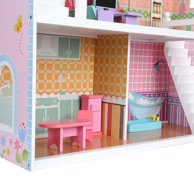 Baby Vivo Wooden Doll House Violetta with Accessories – Bild 9