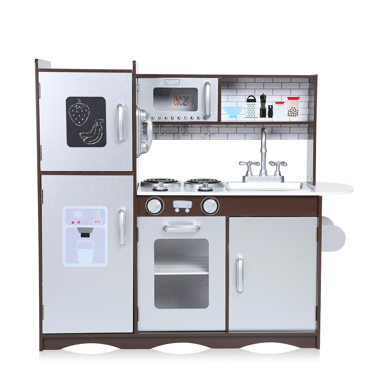 Baby Vivo - Wooden Play Kitchen for Children - Toni in Brown
