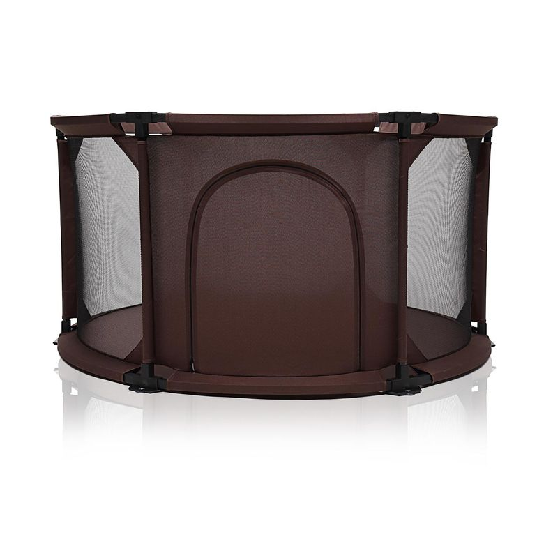 Baby Vivo Baby Child Playpen Flexi Portable / Foldable in Brown - Round – Bild 2