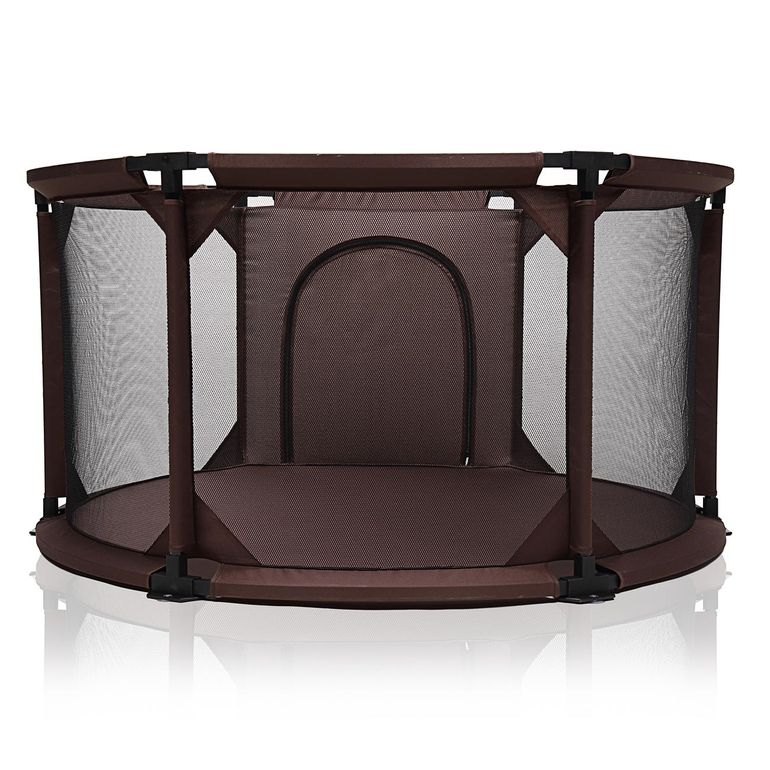 Baby Vivo Baby Child Playpen Flexi Portable / Foldable in Brown - Round – Bild 4