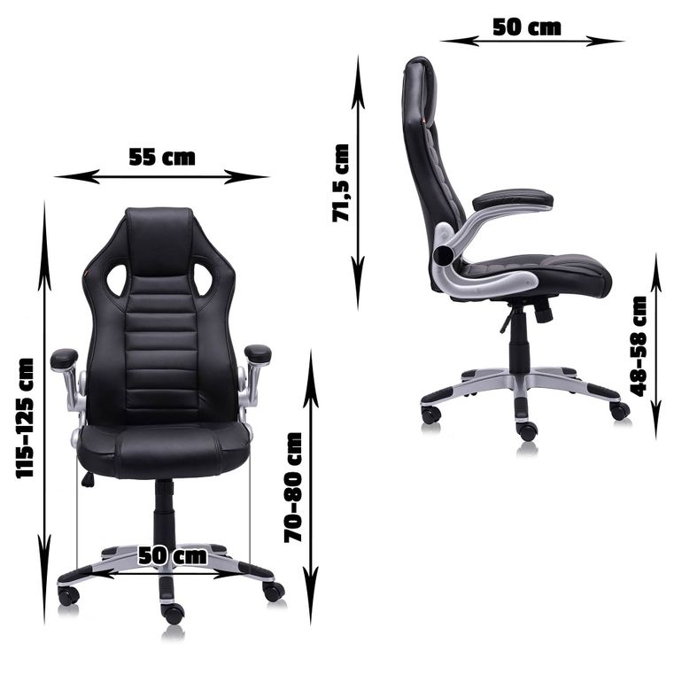 MY SIT Office Chair Racing in Black V10 Synthetic Leather – Bild 2