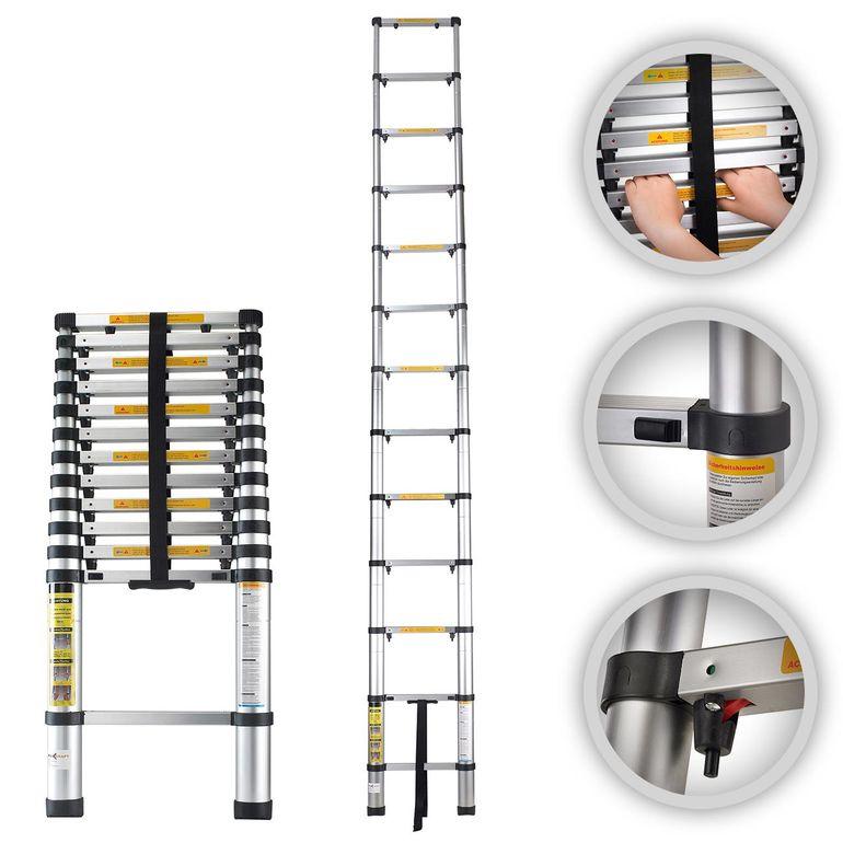 MAXCRAFT 3,80 m Teleskopleiter / Anlegeleiter mit Fingerklemmschutz - Abstandshalter - B-Ware – Bild 1