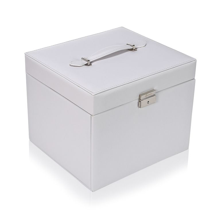 Makika Jewellery Box / Jewellery Storage with Lock and 2 Side Cases Faux Leather - in White – Bild 2