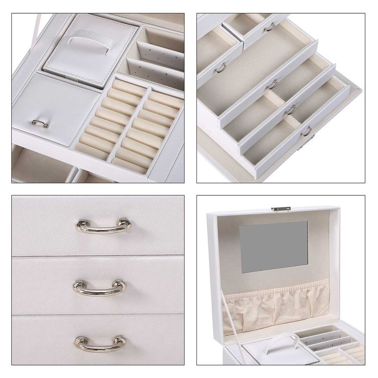Makika Jewellery Box / Jewellery Storage with Lock and 2 Side Cases Faux Leather - in White – Bild 11