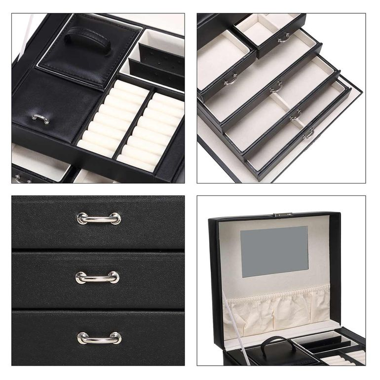 Makika Jewellery Box / Jewellery Storage with Lock and 2 Side Cases Faux Leather - in Black – Bild 11