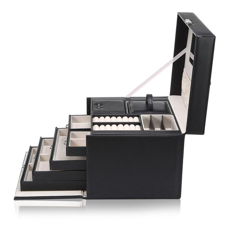 Makika Schmuckaufbewahrung / Schmuckkästchen mit Schloss und aufklappbaren Seitenfächern - in Schwarz – Bild 5