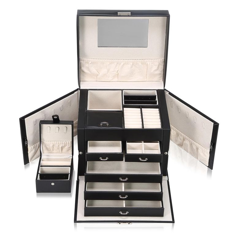 Makika Jewellery Box / Jewellery Storage with Lock and 2 Side Cases Faux Leather - in Black – Bild 1