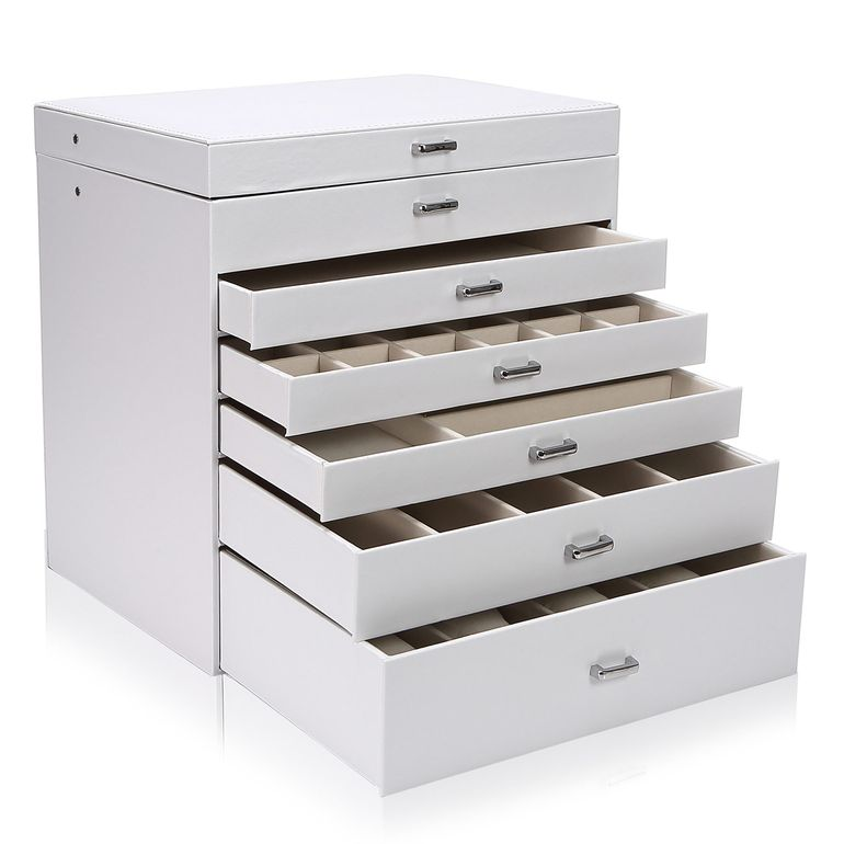 Makika Square Jewellery Box / Jewellery Storage with 5 Drawers and Mirror Faux Leather - in White – Bild 5