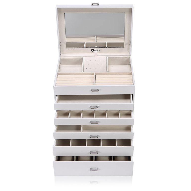 Makika Square Jewellery Box / Jewellery Storage with 5 Drawers and Mirror Faux Leather - in White – Bild 1