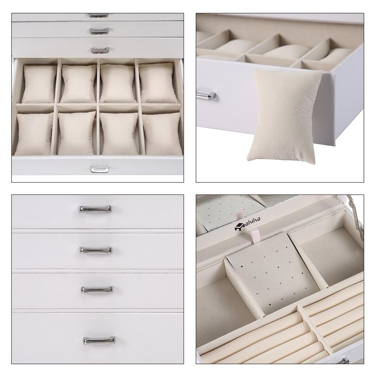 Makika Square Jewellery Box / Jewellery Storage with 5 Drawers and Mirror Faux Leather - in White – Bild 10