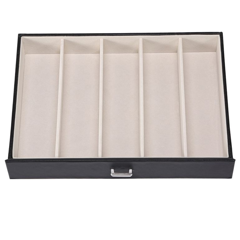 Makika Square Jewellery Box / Jewellery Storage with 5 Drawers and Mirror Faux Leather - in Black – Bild 9
