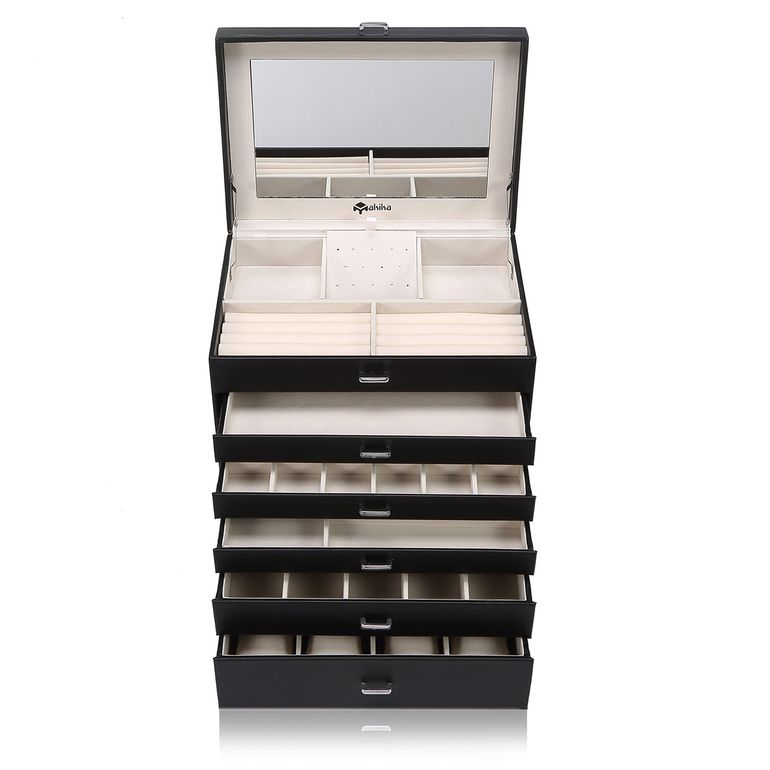 Makika Square Jewellery Box / Jewellery Storage with 5 Drawers and Mirror Faux Leather - in Black – Bild 1