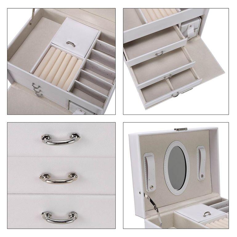 Makika Square Jewelry Box / Jewelry Storage with 3 Drawers and separate Travel Box - in White – Bild 11