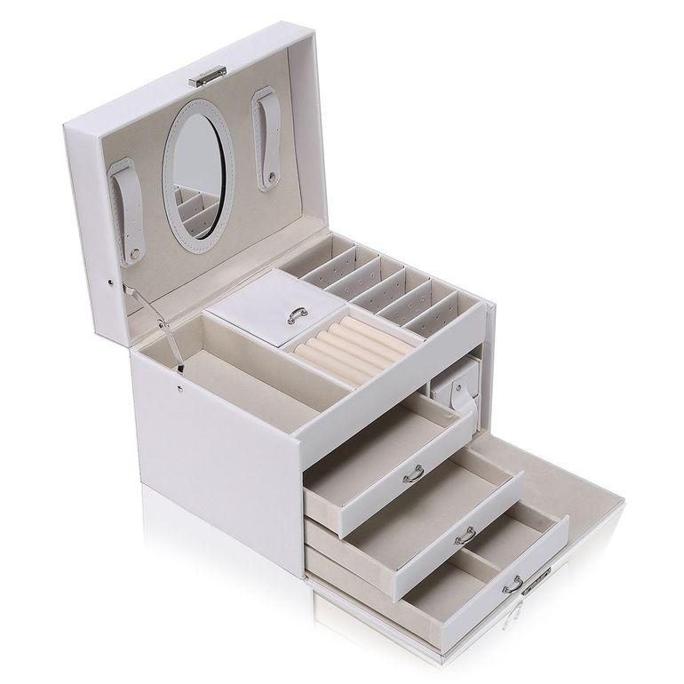 Makika Schmuckaufbewahrung / Schmuckkästchen viereckig mit 3 Schubladen und extra Schmuckbox - in Weiß – Bild 4