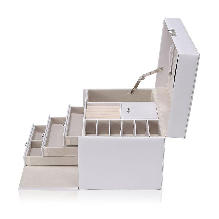 Makika Schmuckaufbewahrung / Schmuckkästchen viereckig mit 3 Schubladen und extra Schmuckbox - in Weiß – Bild 5