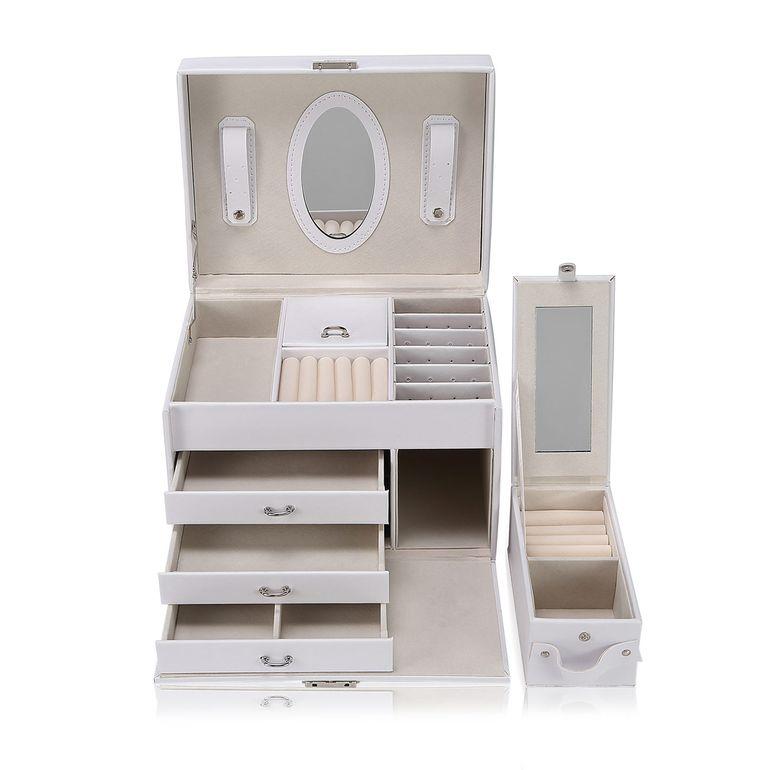 Makika Schmuckaufbewahrung / Schmuckkästchen viereckig mit 3 Schubladen und extra Schmuckbox - in Weiß – Bild 1