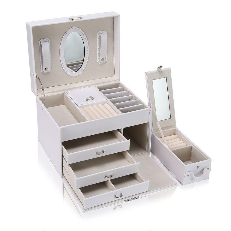 Makika Schmuckaufbewahrung / Schmuckkästchen viereckig mit 3 Schubladen und extra Schmuckbox - in Weiß – Bild 7