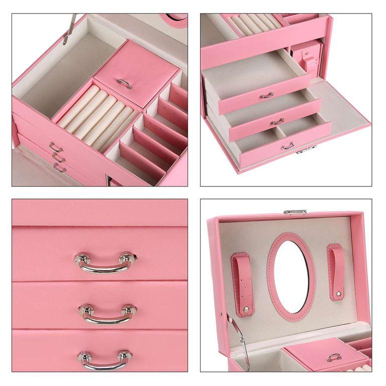 Makika Schmuckaufbewahrung / Schmuckkästchen viereckig mit 3 Schubladen und extra Schmuckbox - in Rosa – Bild 11