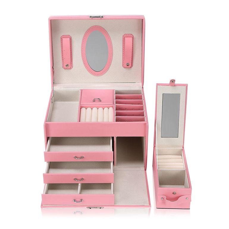 Makika Schmuckaufbewahrung / Schmuckkästchen viereckig mit 3 Schubladen und extra Schmuckbox - in Rosa – Bild 1
