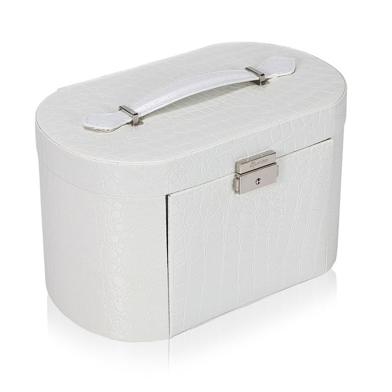 Makika Jewelry Box / Jewelry Storage with 2 Side Cases Arched Crocodile Grain Faux Leather - in White