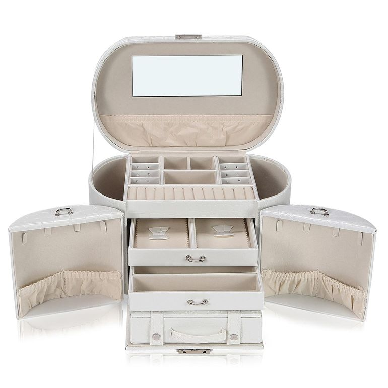 Makika Jewelry Box / Jewelry Storage with 2 Side Cases Arched Crocodile Grain Faux Leather - in White – Bild 1
