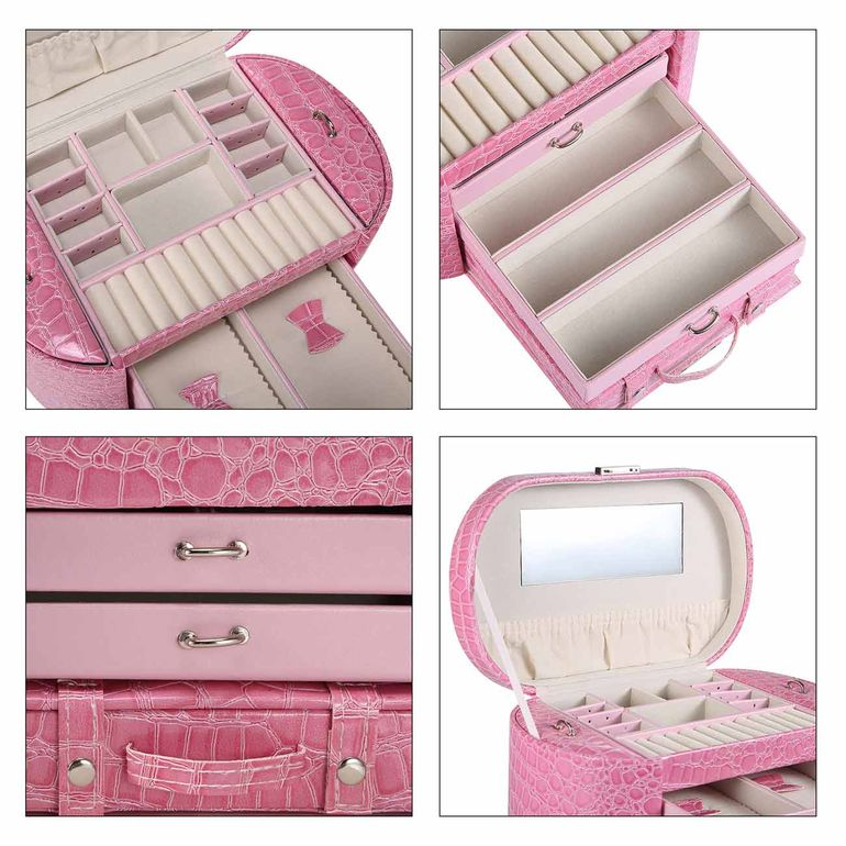 Makika Jewellery Box / Jewellery Storage with 2 Side Cases Arched Crocodile Grain Faux Leather - in Pink – Bild 11