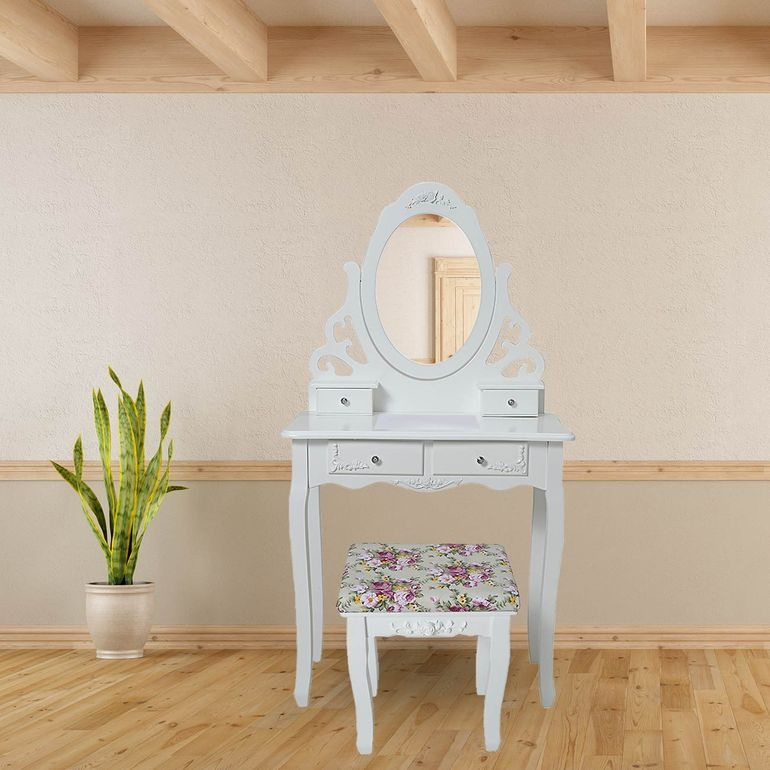 Makika Dressing table / Make-up table ZOE with rotatable mirror and padded stool – Bild 1