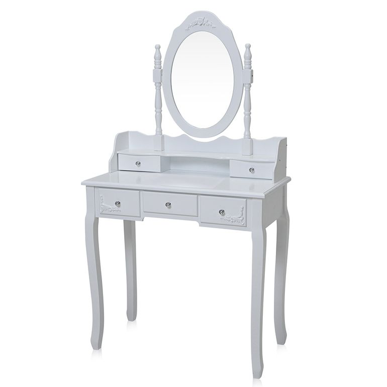 Makika Dressing table / Make-up table CARA with rotatable mirror and padded stool