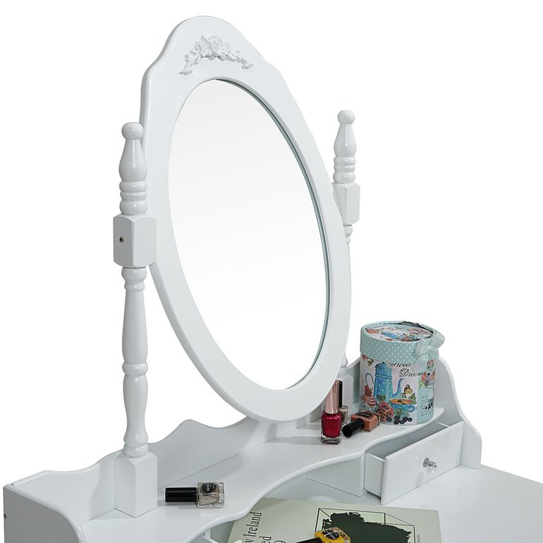 Makika Dressing table / Make-up table CARA with rotatable mirror and padded stool – Bild 6