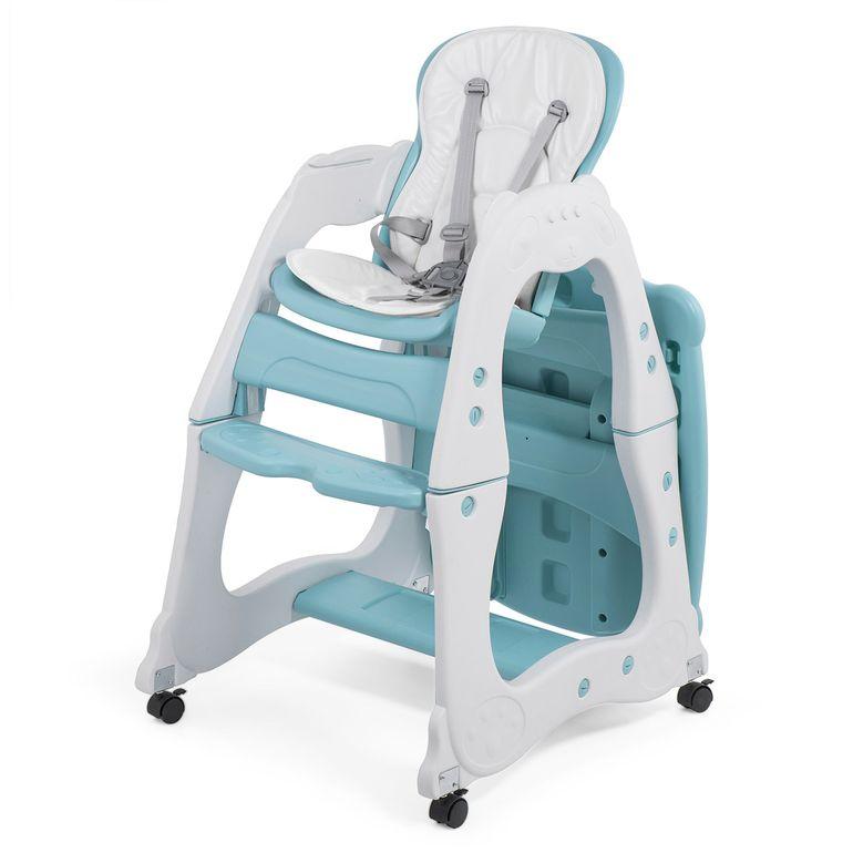 Baby Vivo 2 in 1 Kinderhochstuhl / Kombihochstuhl aus Kunststoff mit Tisch und Rollen - Mara in Mintgrün – Bild 3