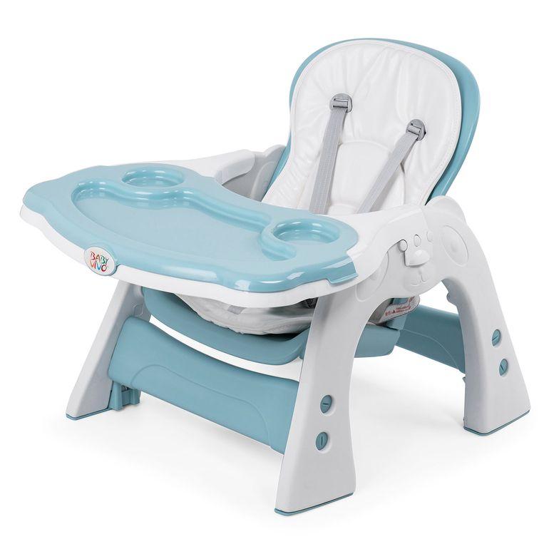 Baby Vivo Chaise haute 2 en 1 pour enfants / chaise haute combinée en matière plastique avec une table et des roulettes - Mara en Vert menthe – Bild 14