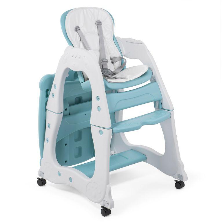 Baby Vivo Chaise haute 2 en 1 pour enfants / chaise haute combinée en matière plastique avec une table et des roulettes - Mara en Vert menthe – Bild 8