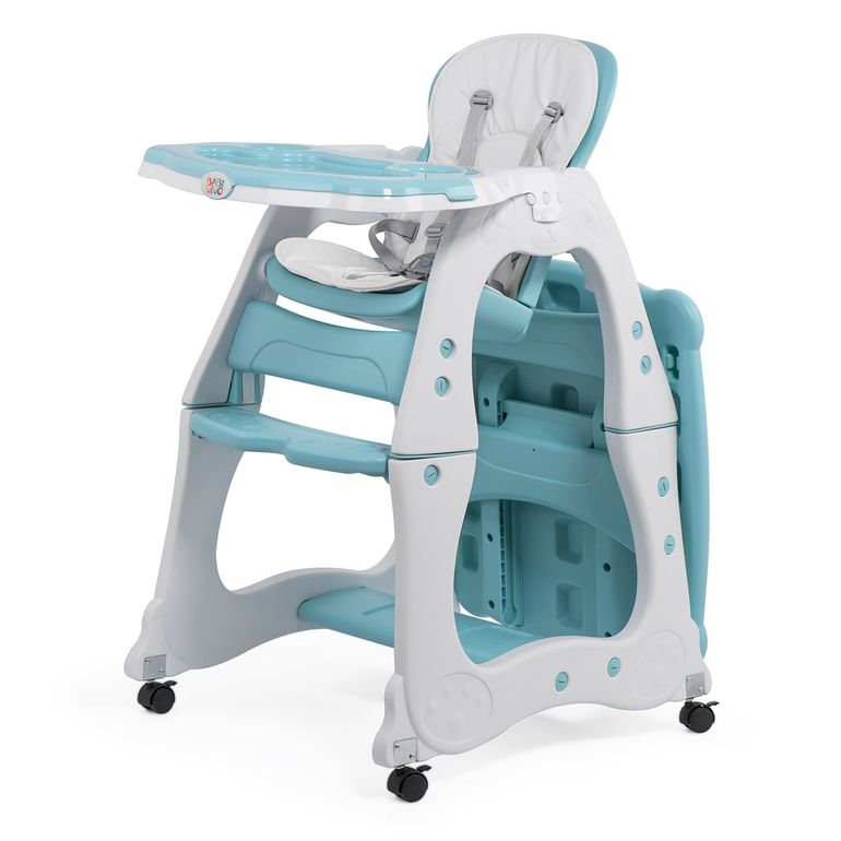 Baby Vivo 2-in-1 Child's Highchair / Combo Plastic High Chair with Table and Casters - Mara in Mint green – Bild 2
