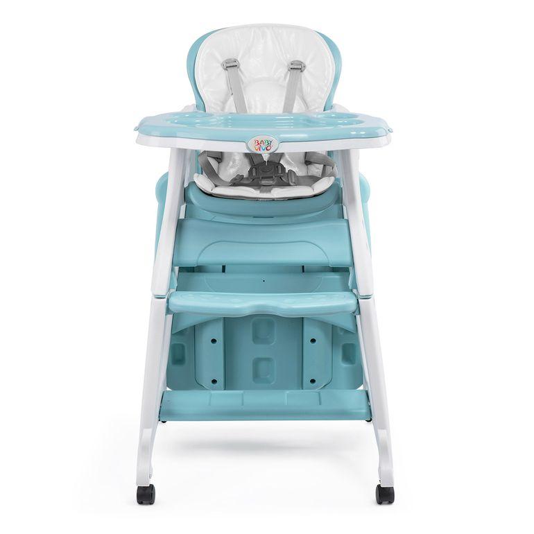 Baby Vivo Chaise haute 2 en 1 pour enfants / chaise haute combinée en matière plastique avec une table et des roulettes - Mara en Vert menthe – Bild 9