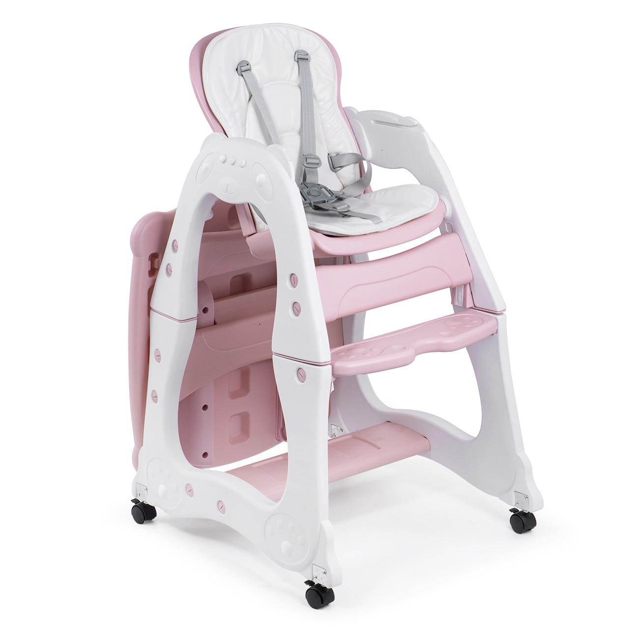 Baby Hochstuhl Mit Tisch.Baby Vivo 2 In 1 Kinderhochstuhl Kombihochstuhl Aus Kunststoff Mit Tisch Und Rollen Mara In Rosa